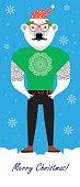 Christmas hipster Bear.  Christmas Greeting Card Design.