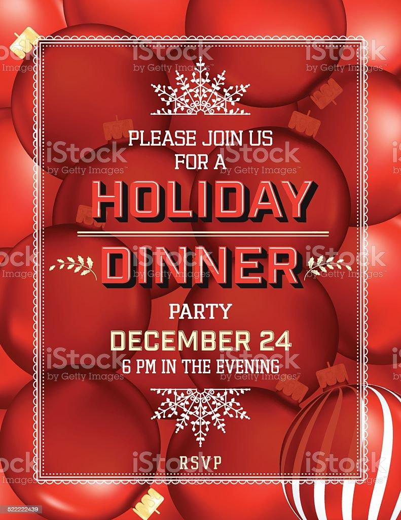 weihnachten urlaub abendesseneinladung vorlage vektor illustration, Einladungen