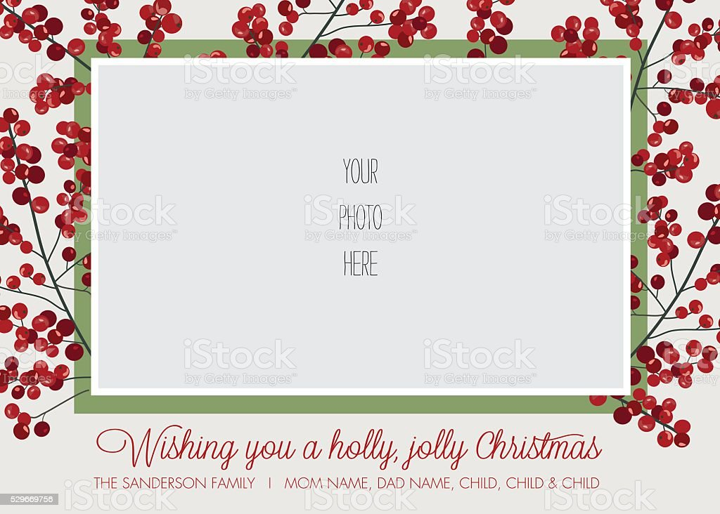 Christmas Holiday Greeting Card Template with Holly Border vector art illustration