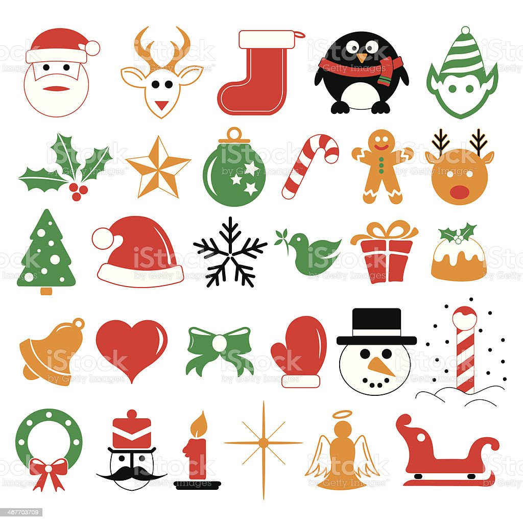 Christmas holiday icons and symbols vector art illustration