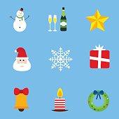 Christmas holiday icons vector set.