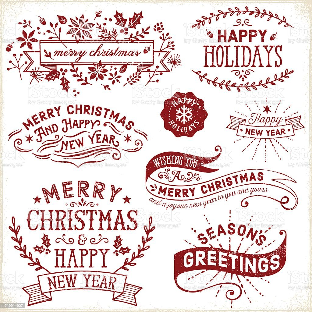 Christmas, Holiday Labels and Banners vector art illustration