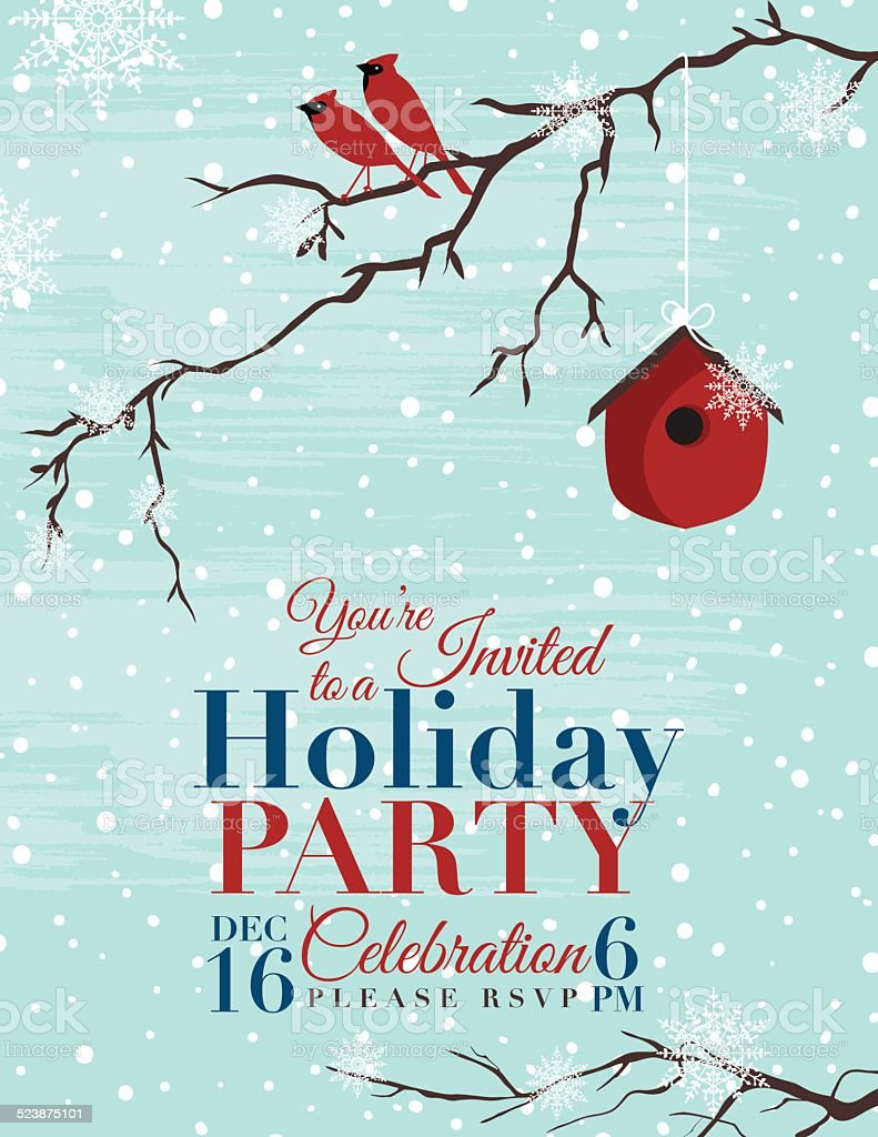 Christmas Holiday Party Invitation Template vector art illustration