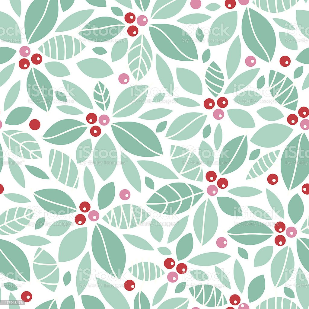 Christmas holly berries seamless pattern background vector art illustration