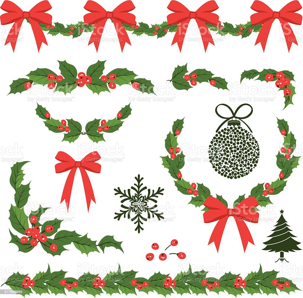 Christmas Holly Decorations and Ornaments vector art illustration