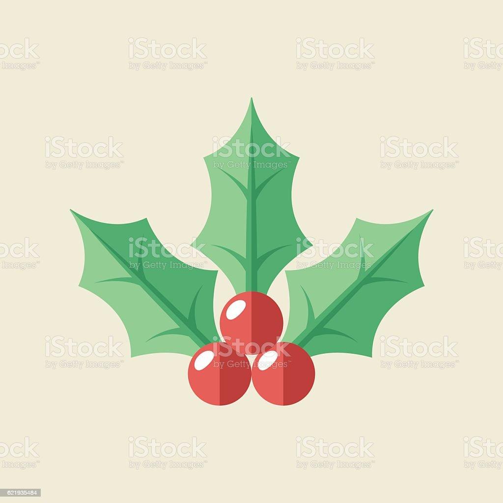 Christmas Holly Icon vector art illustration