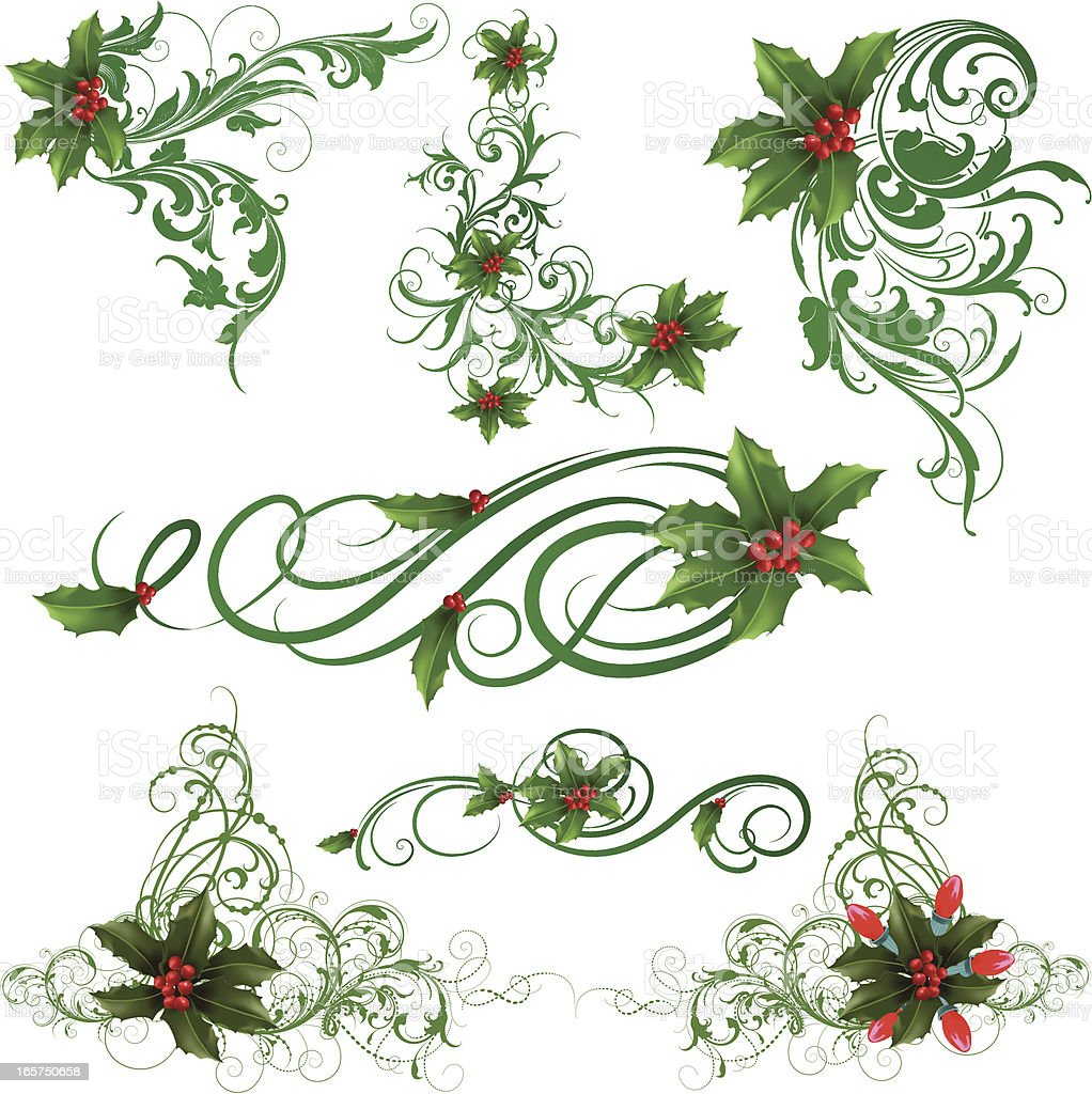 Christmas Holly Ornaments royalty-free stock vector art