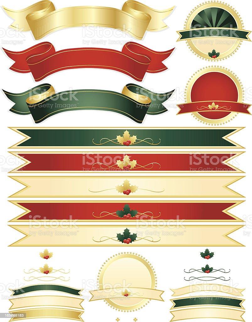 Christmas Holly und Bänder, Robben Set-Rot, Grün und Gold Lizenzfreies vektor illustration