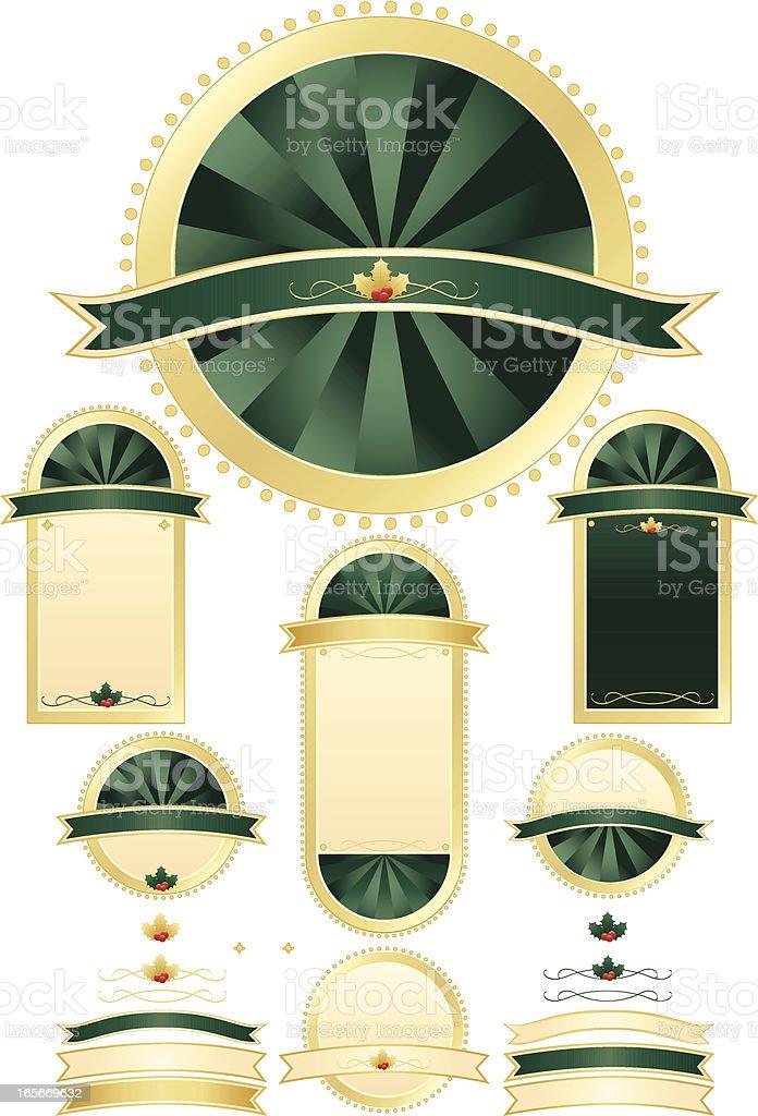 Christmas Holly Robben und Schilder Set-üppigem Grün und Gold Lizenzfreies vektor illustration