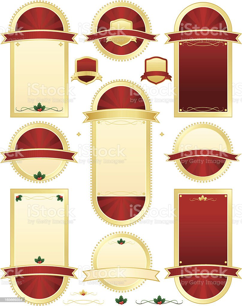 Christmas Holly Seals and Plaques Set - Rich Red, Gold royalty-free stock vector art