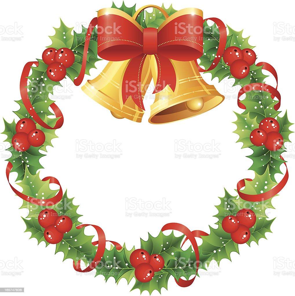 Christmas holly wreath royalty-free stock vector art