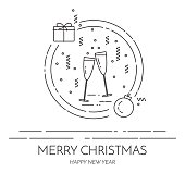 Christmas horizontal banner Flat line art