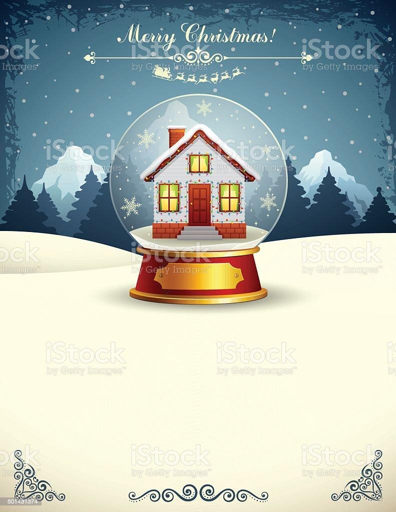 Christmas House in a Snow Globe vector art illustration