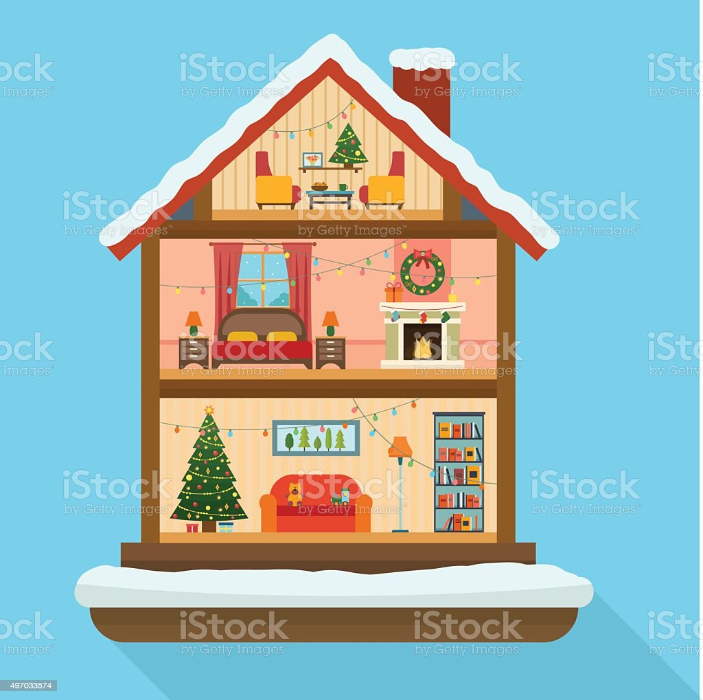Christmas house with snow art - Christmas House In Cut With Snow Royalty Free Stock Vector Art