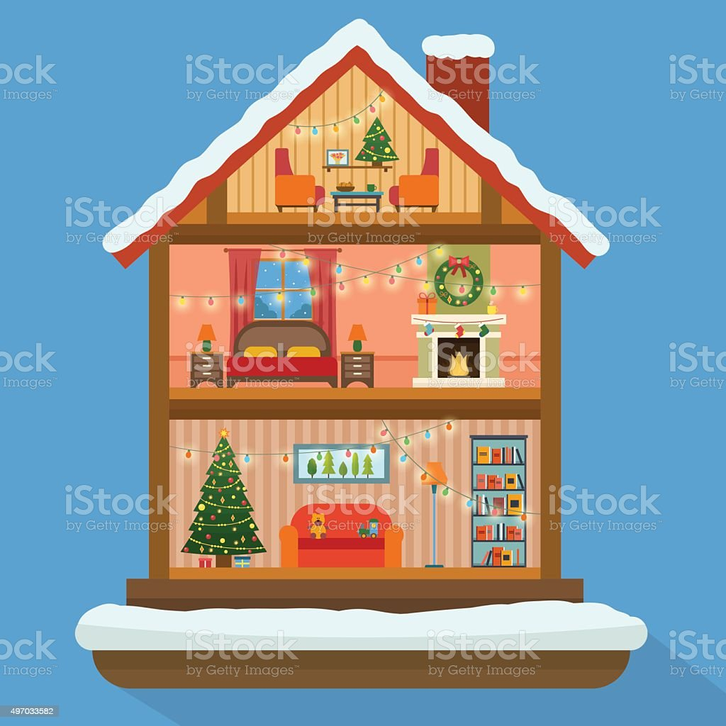 Christmas house in cut with snow. vector art illustration
