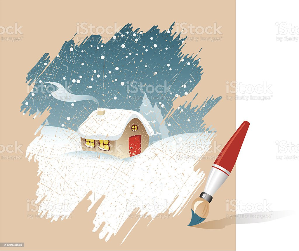 Christmas house with snow art - Christmas House In The Snow Drawn By Paints Royalty Free Stock Vector Art