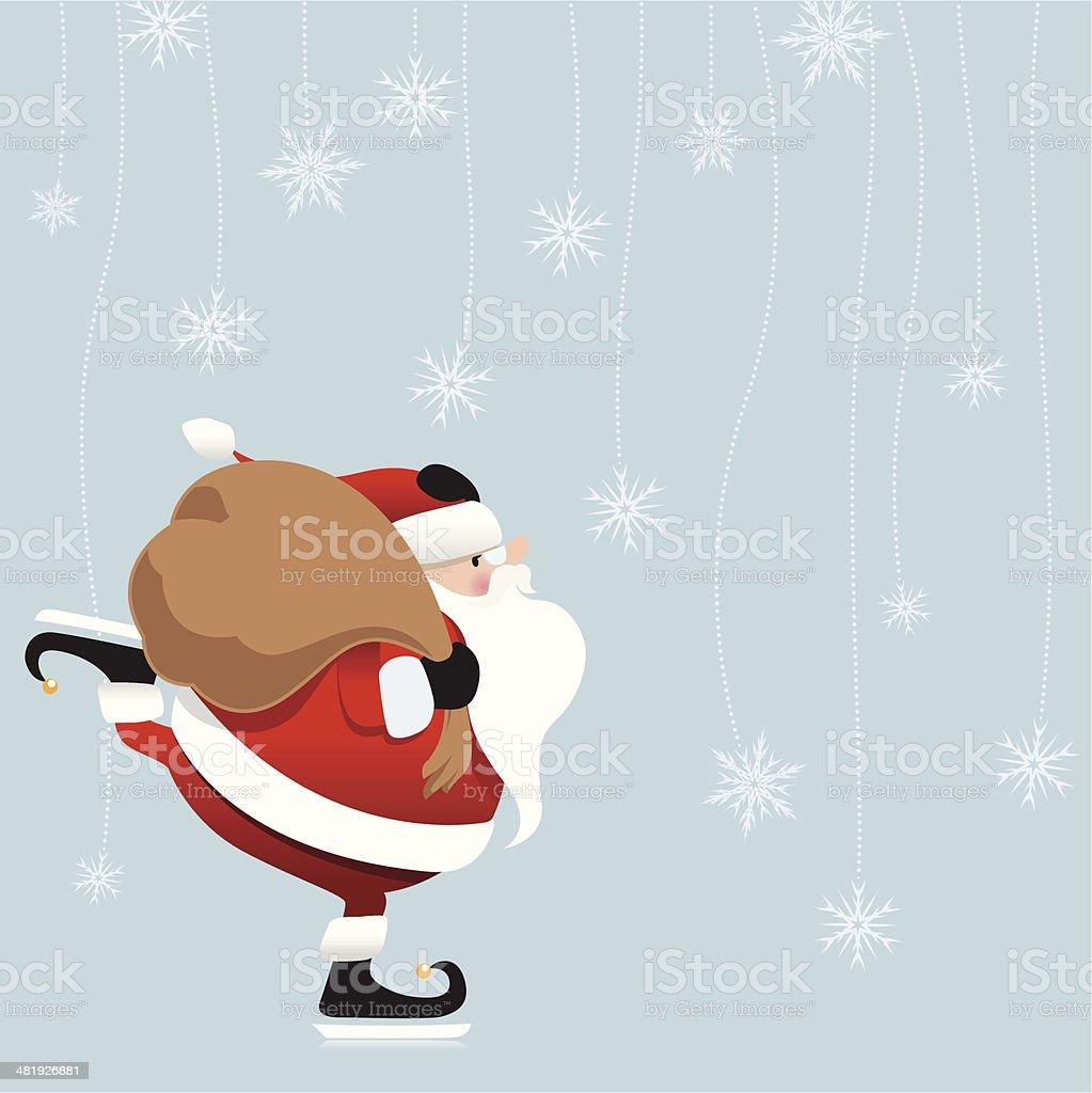 Christmas Ice Skating Santa with snowflakes vector art illustration