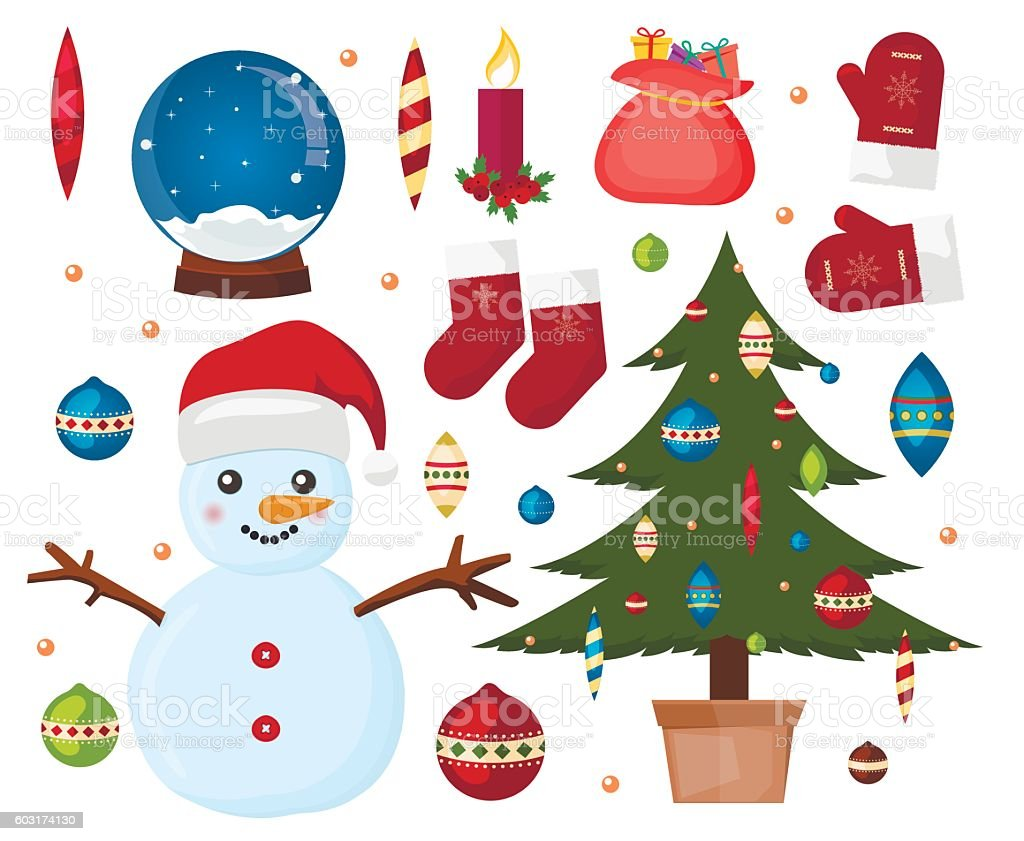 Christmas icon collection vector art illustration