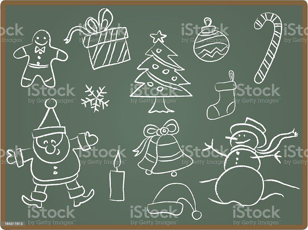 Christmas icon on Chalkboard royalty-free stock vector art