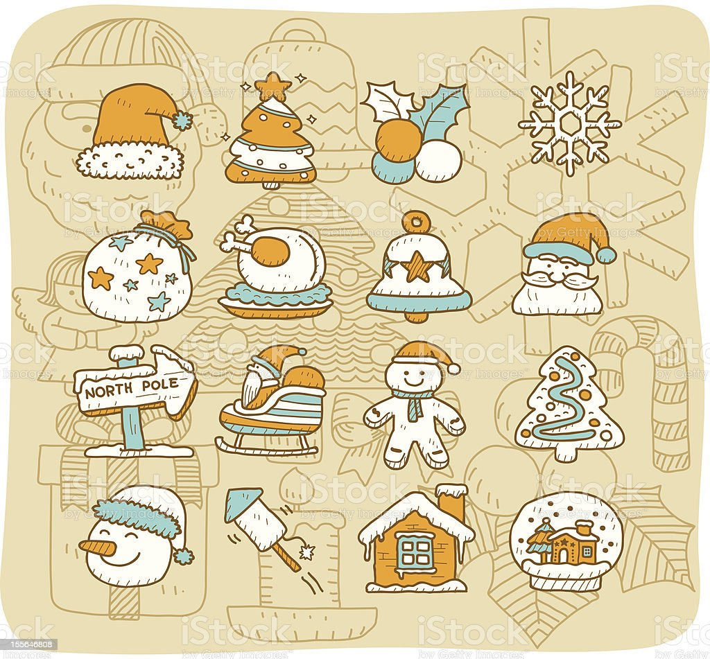 Christmas icon set   Mocha Series royalty-free stock vector art