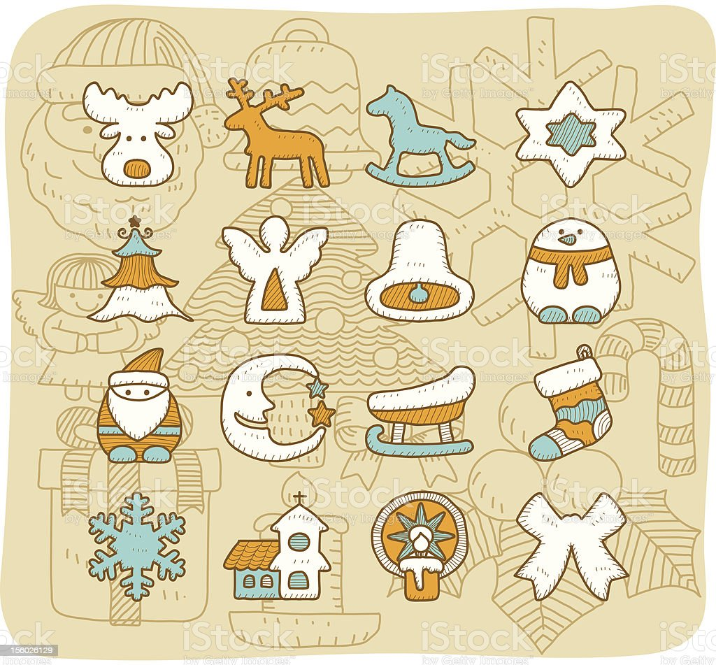 Christmas icon set |Mocha series royalty-free stock vector art