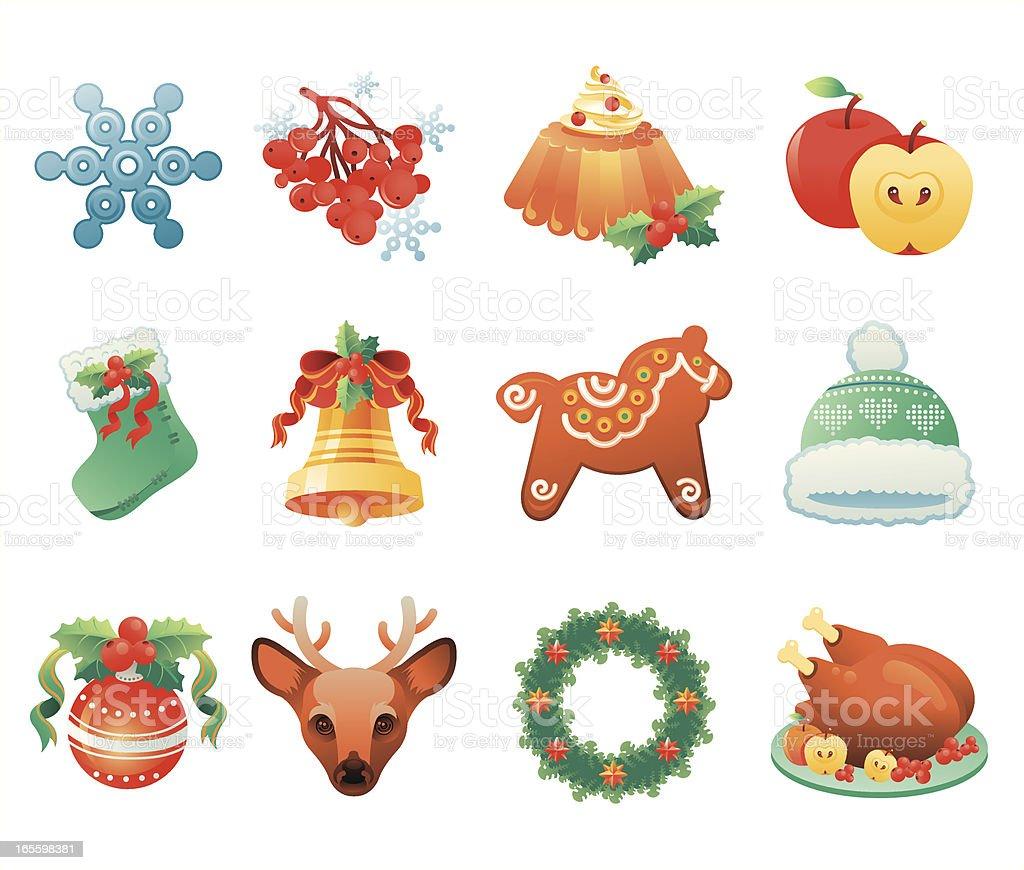 Christmas icon set vector art illustration