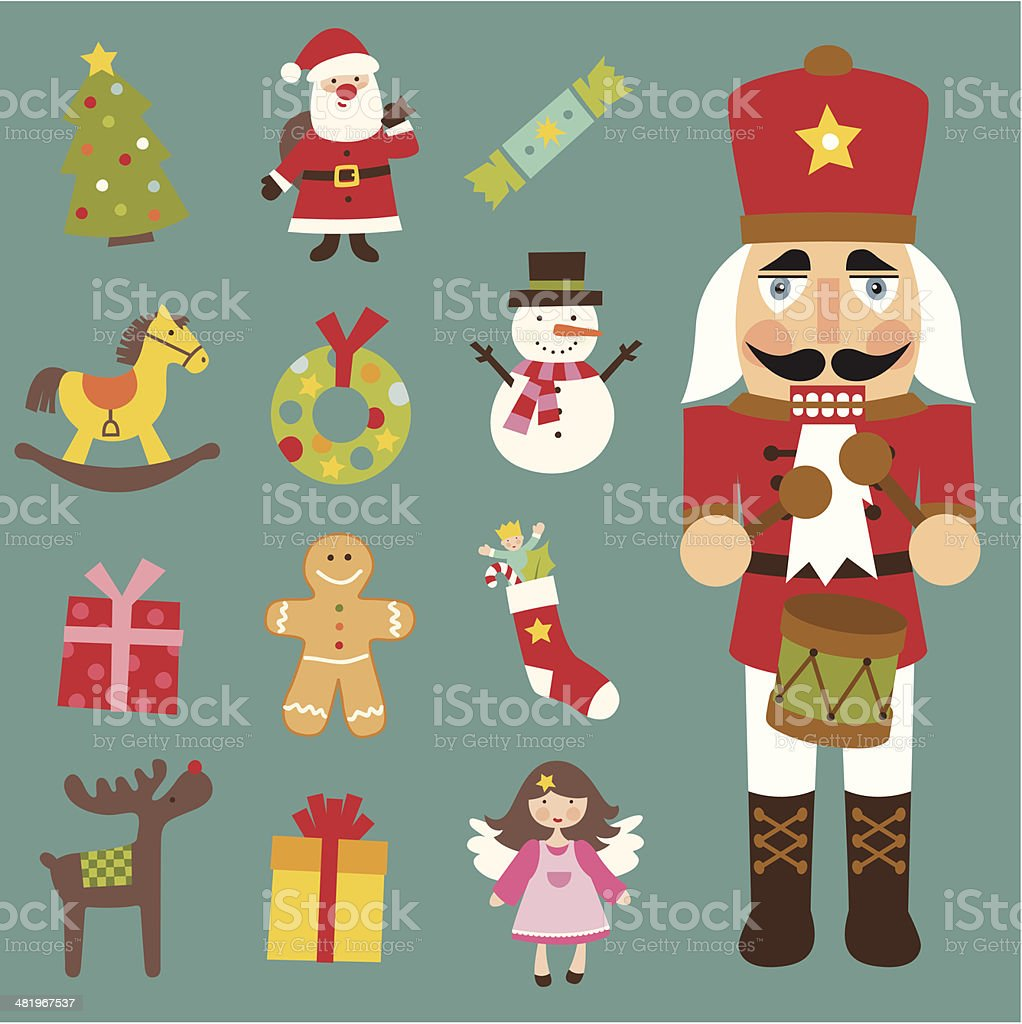 Christmas icon set vector art illustration