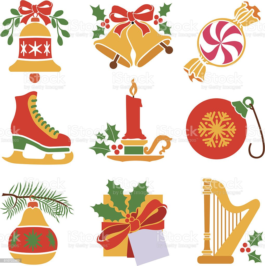 Christmas icon set with a red and gold theme vector art illustration