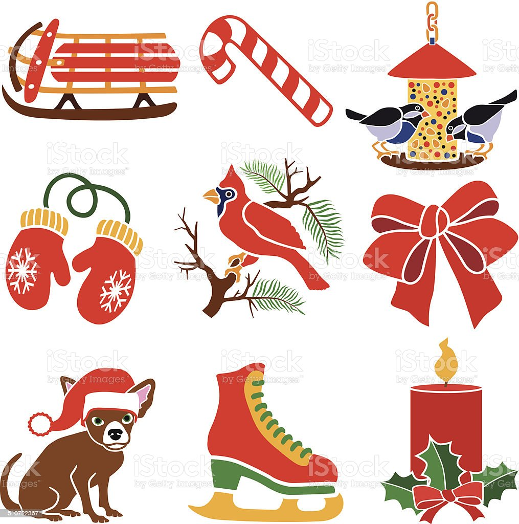 Christmas icon set with a red color theme vector art illustration