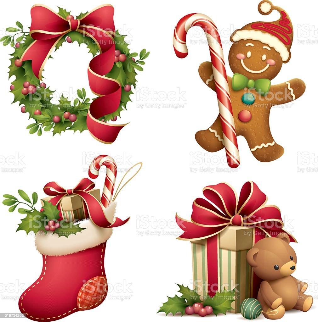 Christmas iconographic's set vector art illustration