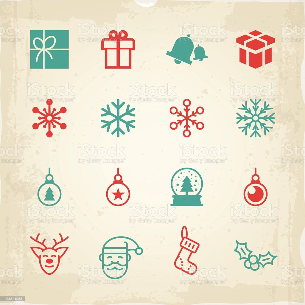 Christmas icons and symbols vector art illustration