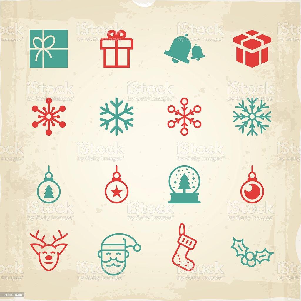 Christmas icons and symbols vector art illustration