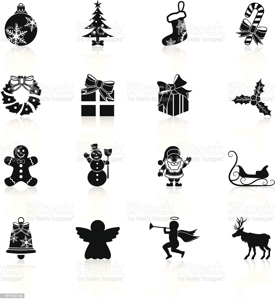 Christmas icons - Black Series royalty-free stock vector art