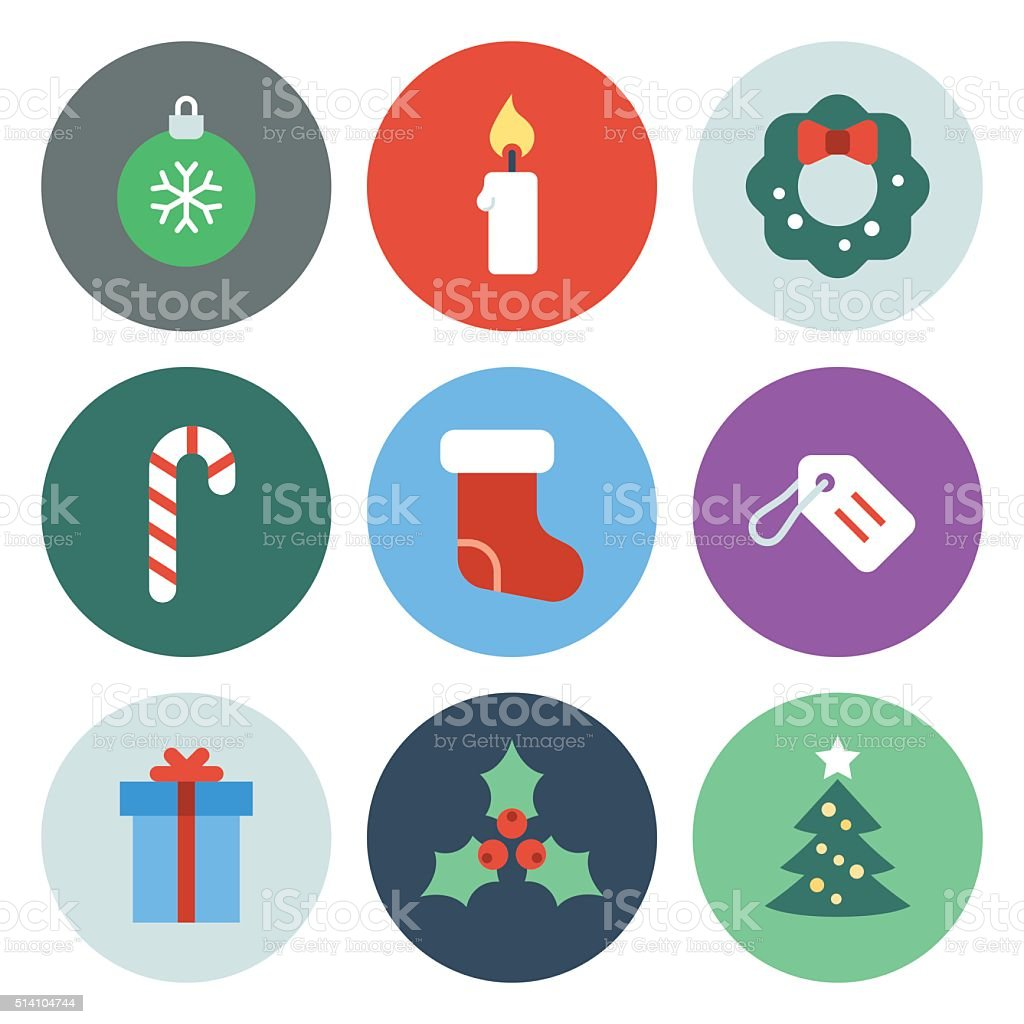 Christmas Icons — Circle Series vector art illustration