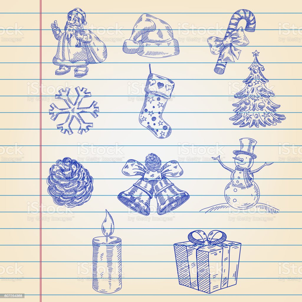 Christmas icons drawings on ruled paper vector art illustration
