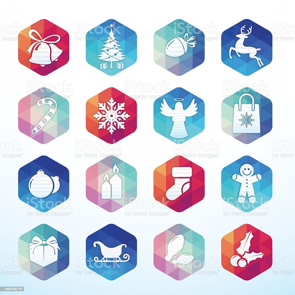 Christmas icons hexagon buttons vector art illustration