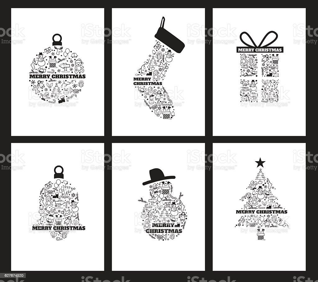 Christmas Icons holiday Background set vector art illustration