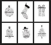Christmas Icons holiday Background set