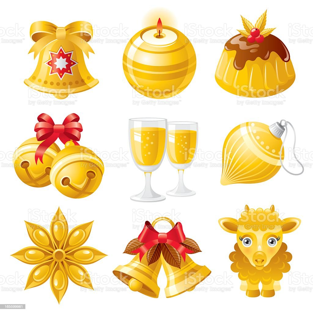 Christmas icons in gold vector art illustration