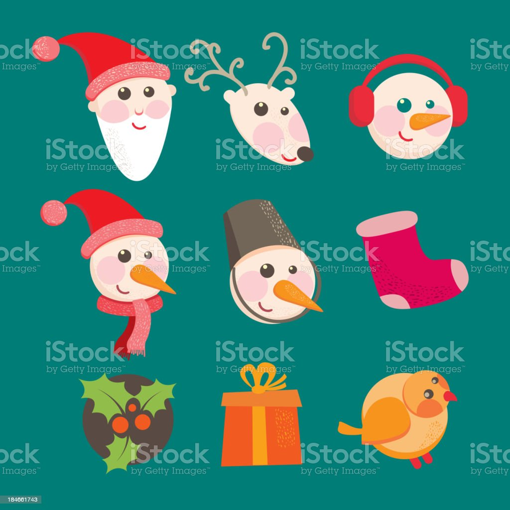 christmas icons objects collection detailed royalty-free stock vector art