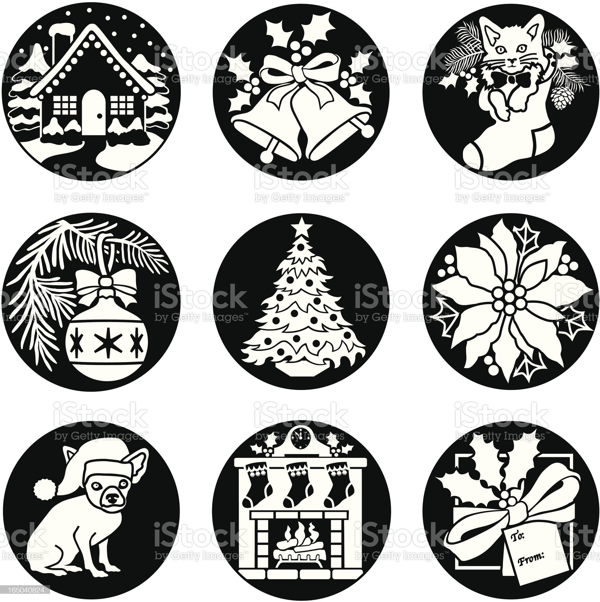 Christmas icons reversed royalty-free stock vector art