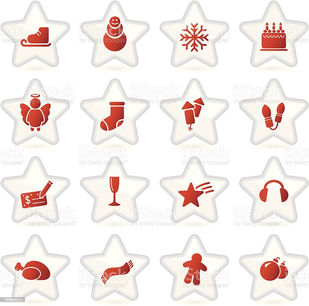 Christmas icons   Santa's star collection vector art illustration