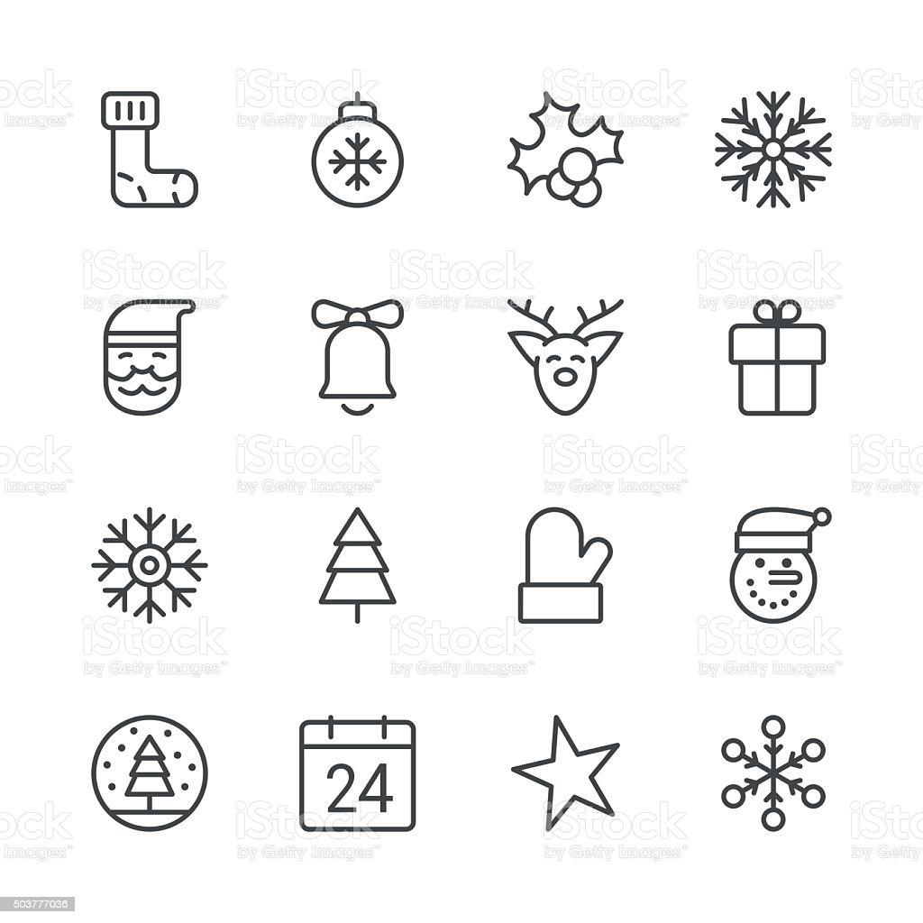 Christmas Icons set 1 | Black Line series vector art illustration