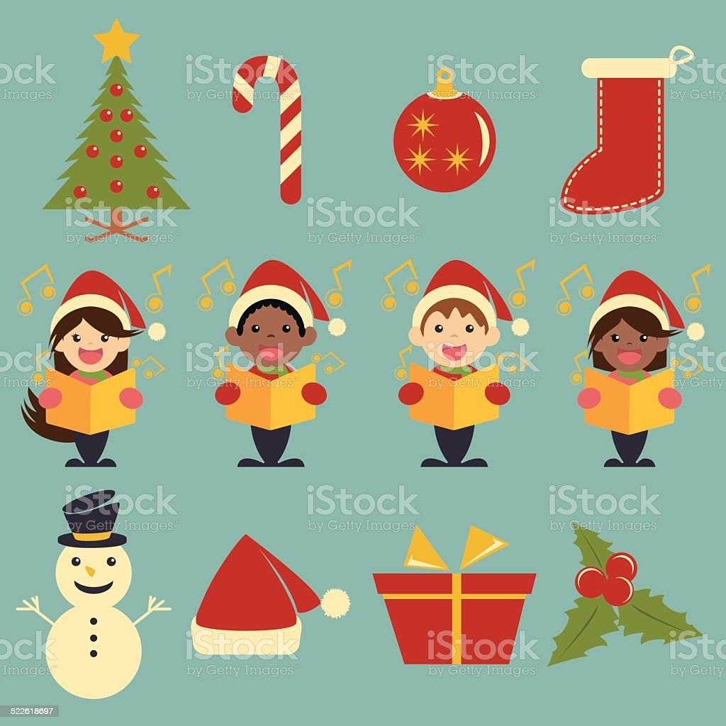 Christmas icons, set collection vector art illustration