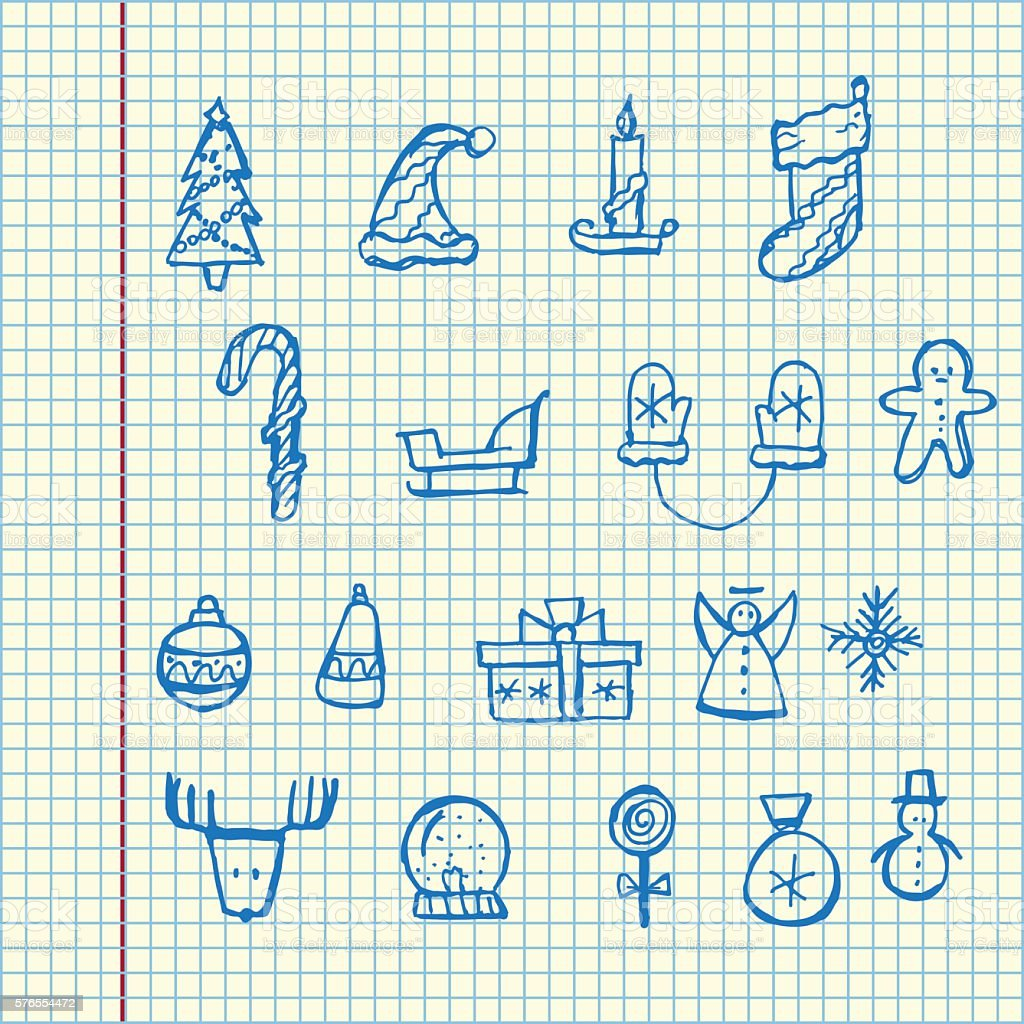 Christmas icons set. Holiday objects collection. Vector illustration vector art illustration