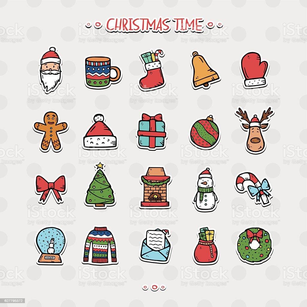 Ensemble d'icônes de Noël stock vecteur libres de droits libre de droits