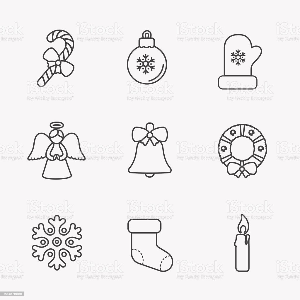 Christmas icons, thin line style, on white. vector art illustration