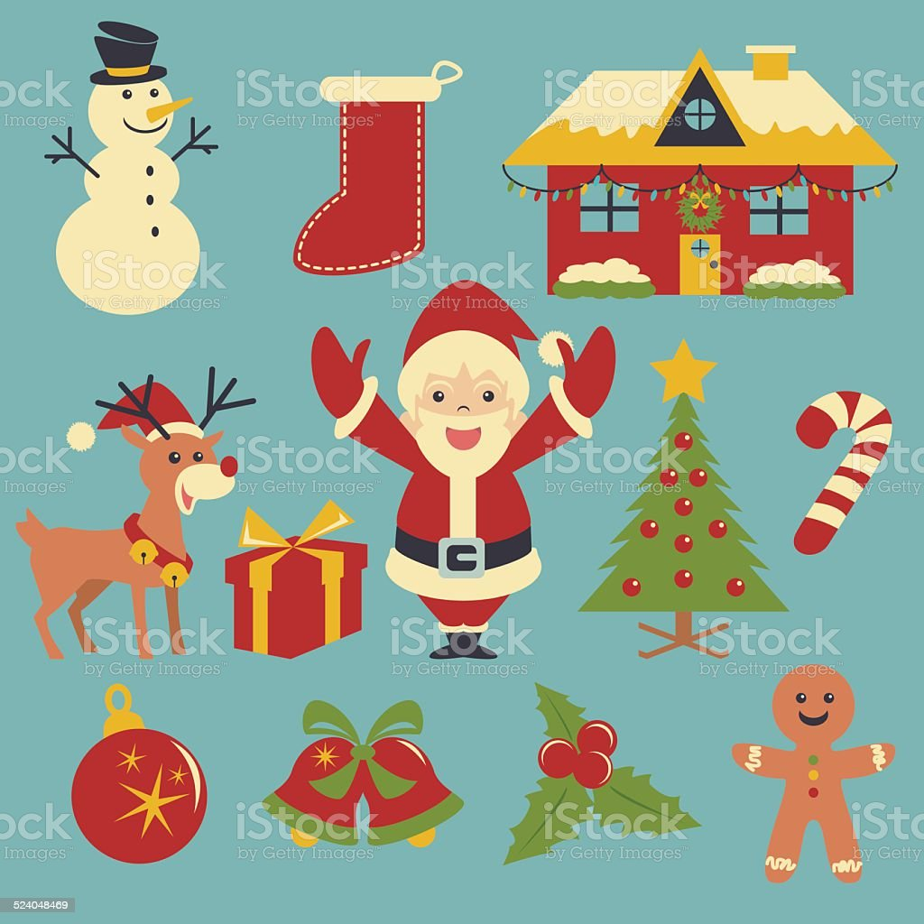 Christmas icons, vector collection vector art illustration