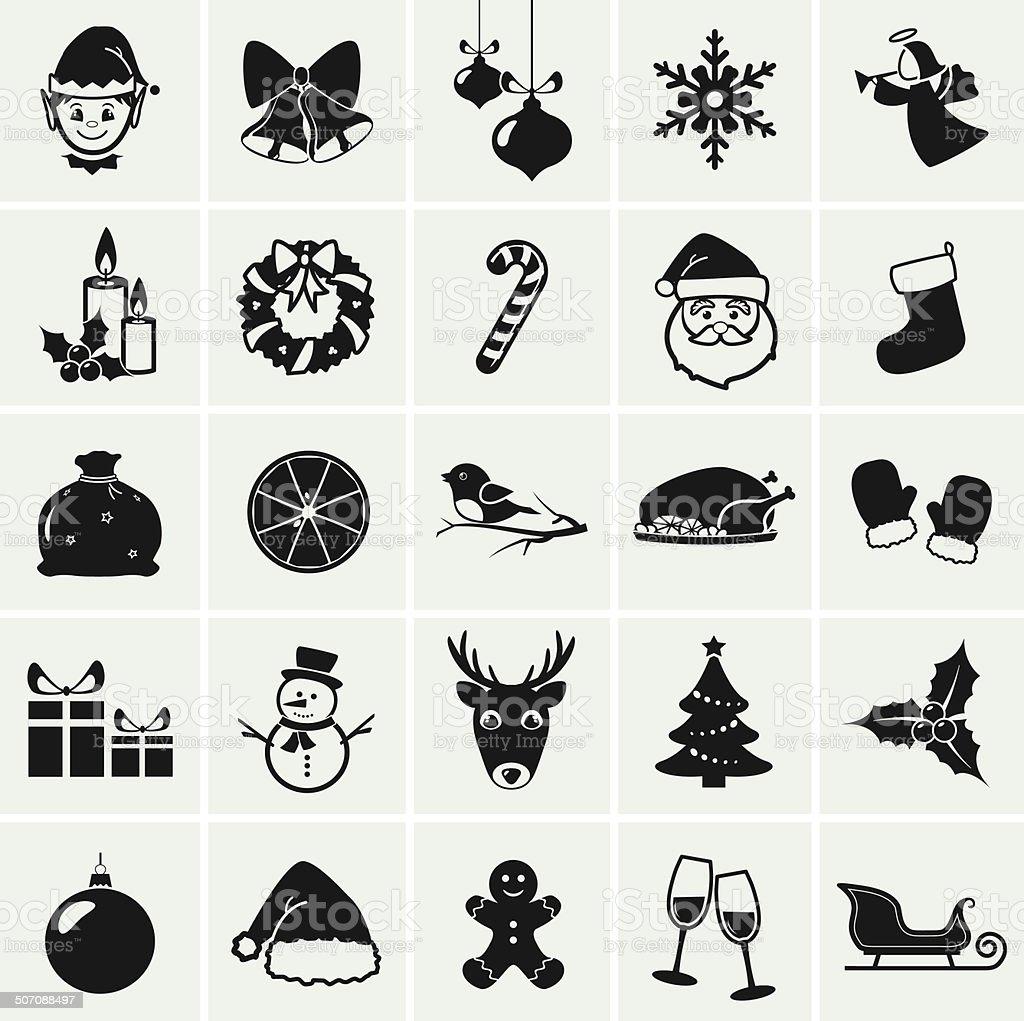 Christmas icons. Vector illustration. vector art illustration
