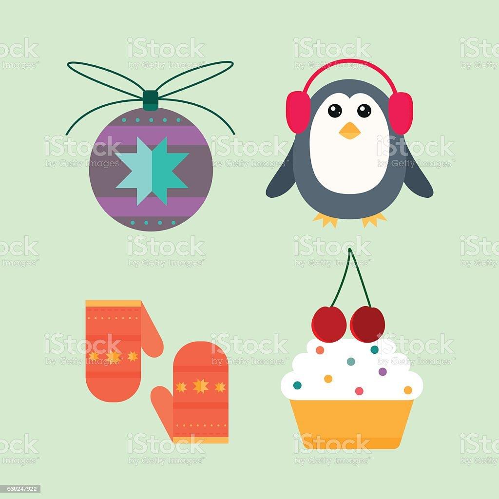 Christmas icons vector illustration. vector art illustration
